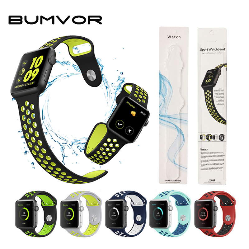 BUMVOR Soft Silicone Wristband for Apple Watch 42mm Series 3 2 1 Sport Band Replacement Strap Bracelet for iWatch Belts 38mm jansin 22mm watchband for garmin fenix 5 easy fit silicone replacement band sports silicone wristband for forerunner 935 gps