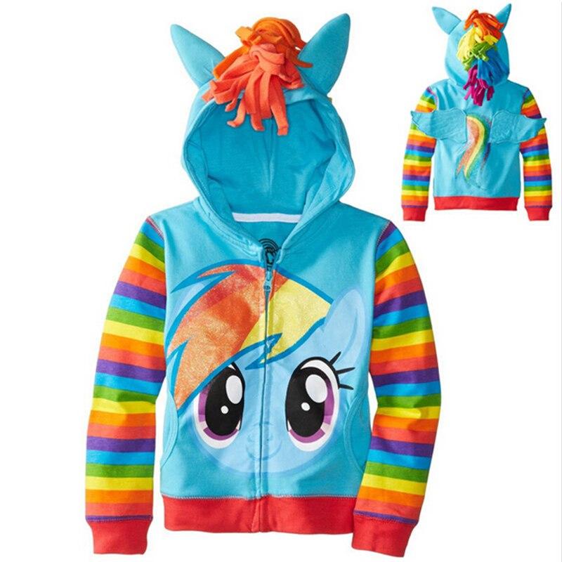 Baby Boys Cosplay Pony Sweatshirt Children Stripe Hoodies Clothing Girls Spring Autumn Jacket Coat Kids Casual Sport Outerwear