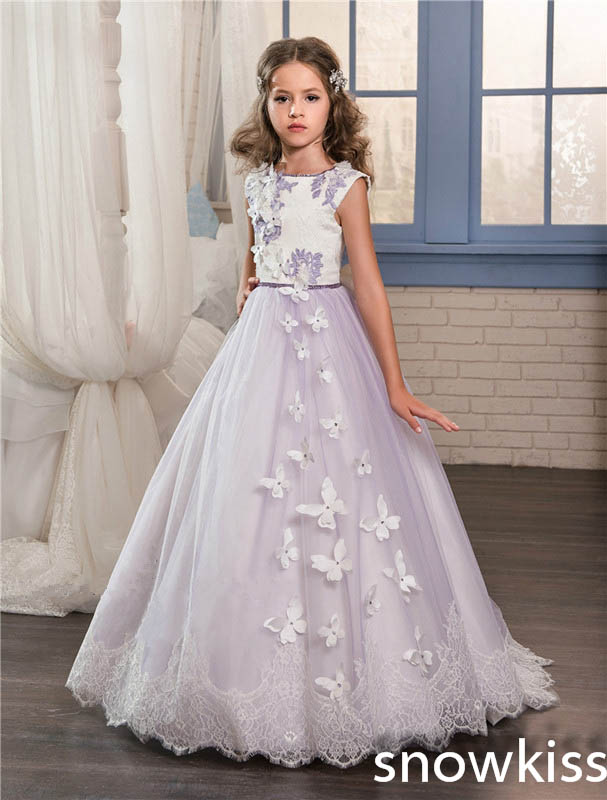 Beautiful purple flower girl dress for wedding with lace appliques tulle open back junior pageant dresses with train and bow lace yoke frill trim open back dress