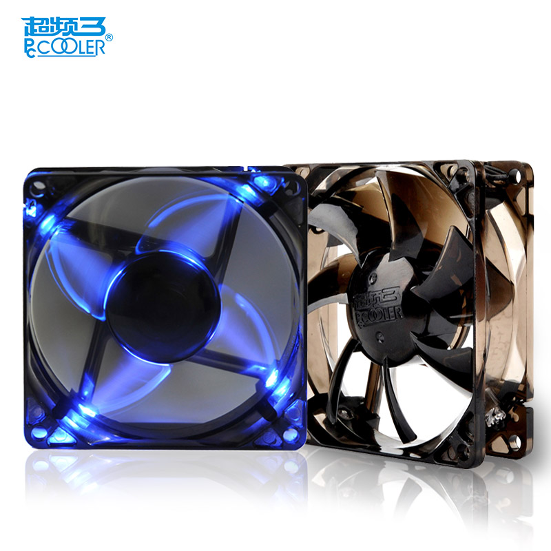 PCcooler F96B 90mm LED computer case fan 90mm PC chassis fan quiet detachable and washable 9cm cooling fan 9025 computer fan free delivery 9025 9 cm 12 v 0 7 a computer cpu fan da09025t12u chassis big wind pwm four needle