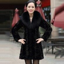 Натуральный норки Меховые пальто с меховым воротником лиса женщин зима средний-длинная куртка черный цвет Теплые женские одежды одежда жилет