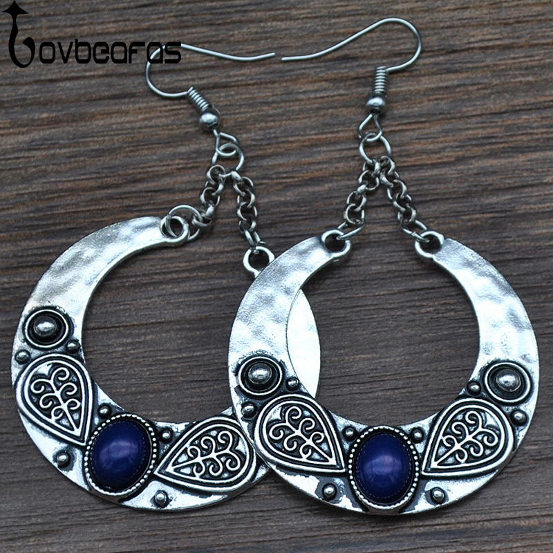 LOVBEAFAS 2019 Fashion Boho Big Drop Earrings For Women Jewelry Brinco Carved Vintage Tibetan Silver Bohemian Long Earrings