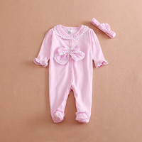 Princess Style Newborn Baby Girl Clothes Bow Flowers Romper Clothing Set Jumpsuit Headband Cute Infant Cirls