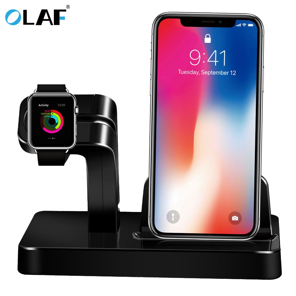 For Apple Watch Charger Docking Station Charging Bracket Holder Charger Stand Cradle for iPhone X 8 Plus 7 6S SE 5S Dock Station