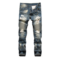 Dropshipping 2018 New Distressed Stretch Ripped Biker Jeans Men Hip Hop With Holes Punk Denim Trousers