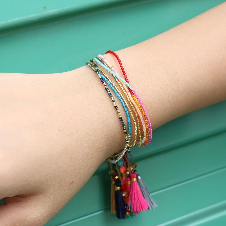 KELITCH 10Pcs Multicolor tassel Seed Beaded Bracelets Handmade Friendship Bracelets Bohemia Strand Bradelet For gifts 9