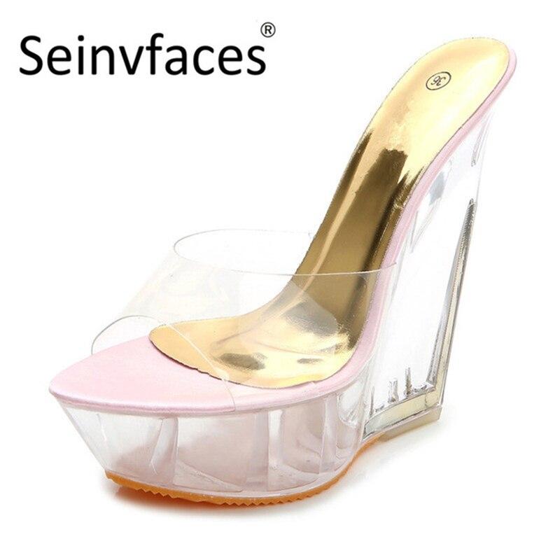 Con Zapatos Estilo 15 Plataforma Dulce Tacón Alto Transparente Cm Mujer De Para Verano 35Ajq4RL