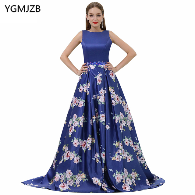New Arrival Floral Print Evening Dresses 2018 A-Line Scoop Cap Sleeve Sequin  Royal Blue Long Prom Evening Gown Vestido De Festa ca58175f02e1