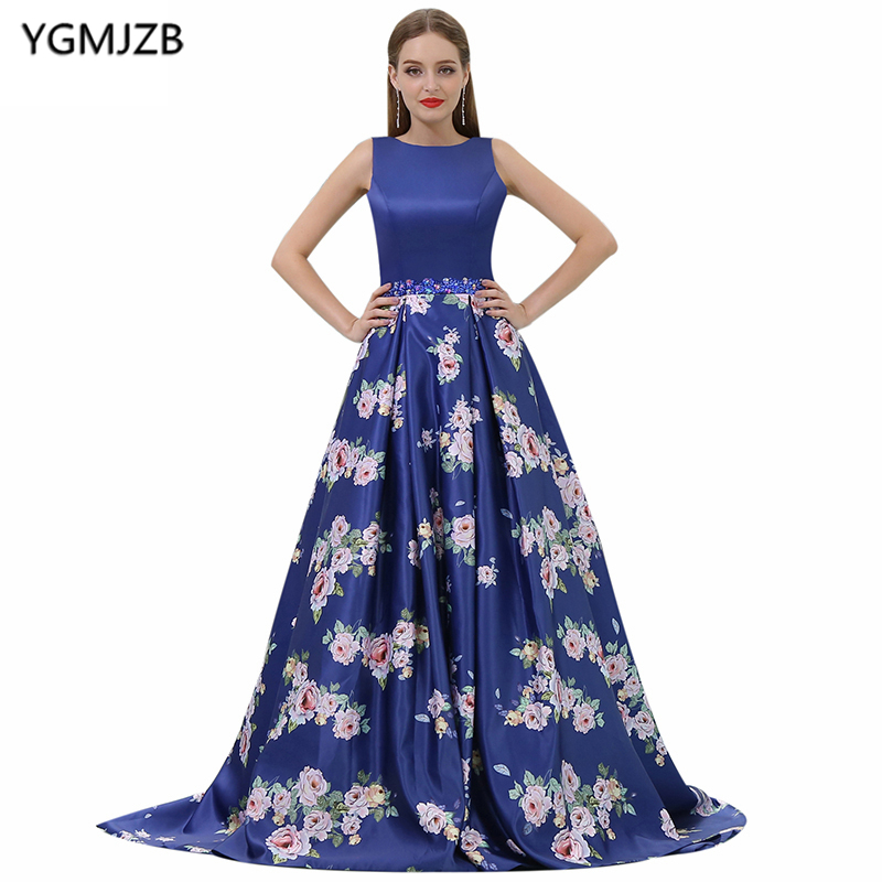 New Arrival Floral Print   Evening     Dresses   2018 A-Line Scoop Cap Sleeve Sequin Royal Blue Long Prom   Evening   Gown Vestido De Festa