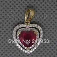 ของแข็งสีเหลืองทอง14Ktรูปหัวใจสีแดงทับทิมแต่งงานจี้BSR0010