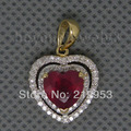 Solid 14Kt Yellow Gold  Blood Red Heart Shape Ruby Wedding Pendant BSR0010