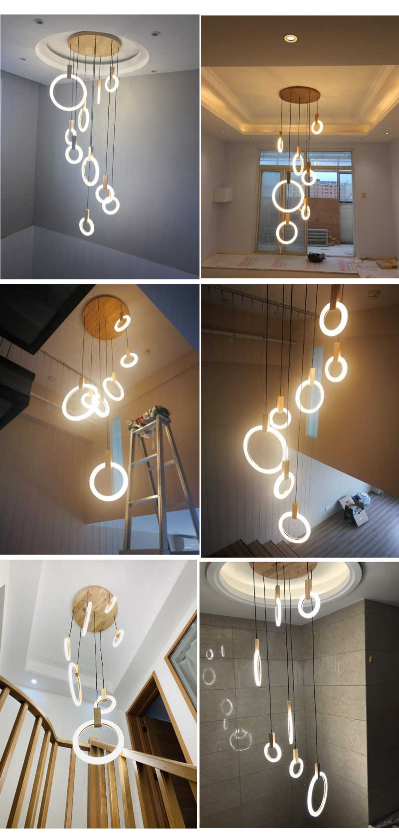 Modern Pendant Light Dining Room Lights Stair Lighting Fixture Wood Pendant Light Hanging Lamps For Staircase Pendant Lamp Led