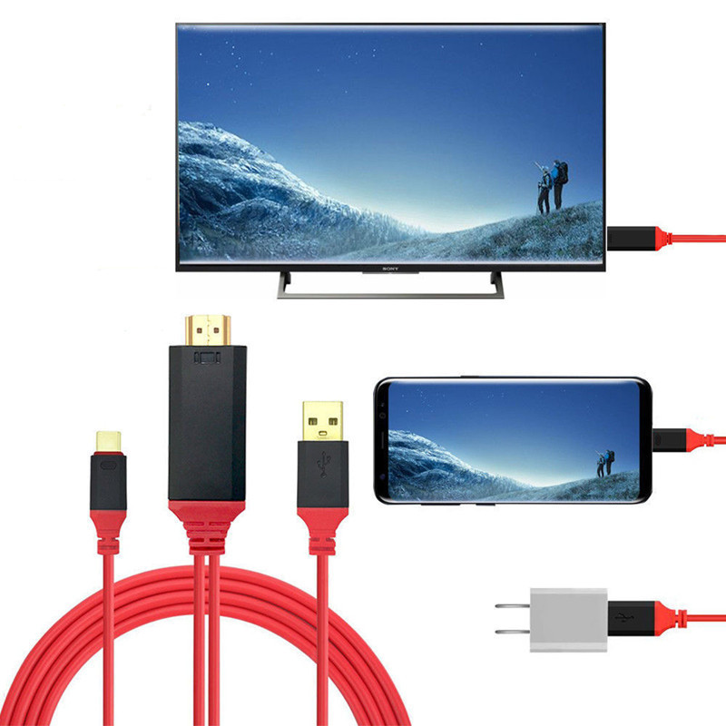 4K*2K HD Video Audio Charging Adapter Cable USB-C Type C To HDMI Cable For Samsung Galaxy Note 8 LG G6 G5 V20 Huawei P9 P10 Plus