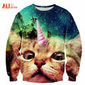 Alisister 2017 New Fashion Men/women's Unicorn Cat Hoodie Winter/autumn 3d Galaxy Sweatshirts Clothes Harajuku Animal Sweatshirt
