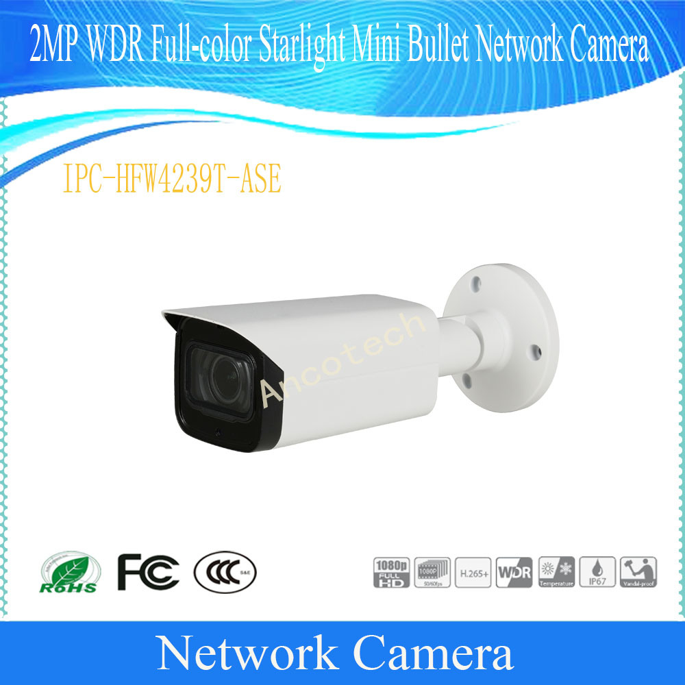 Free Shipping DAHUA Serveillance IP Camera 2MP WDR Full color Starlight Mini Bullet Network Camera DH IPC HFW4239T ASE