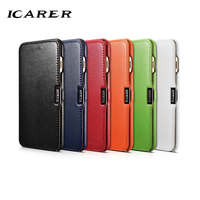 ICarer For IPhone 7 Plus Case Luxury Red Black Brand Hard Magnetic Genuine Leather Armor Flip