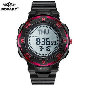 Image 1 - POPART גברים שעונים מצפן זמן בעולם שעון עצר למטה מונה מעורר LED הדיגיטלי ספורט שעונים לגברים שעון Relogio Masculino