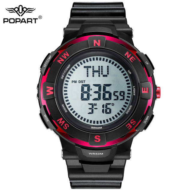 POPART גברים שעונים מצפן זמן בעולם שעון עצר למטה מונה מעורר LED הדיגיטלי ספורט שעונים לגברים שעון Relogio Masculino