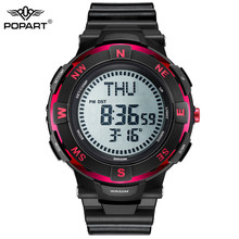 POPART Mens Watches Compass World Time Stopwatch Down Counter Alarm LED Digital Sport Watches For Men Clock Relogio Masculino
