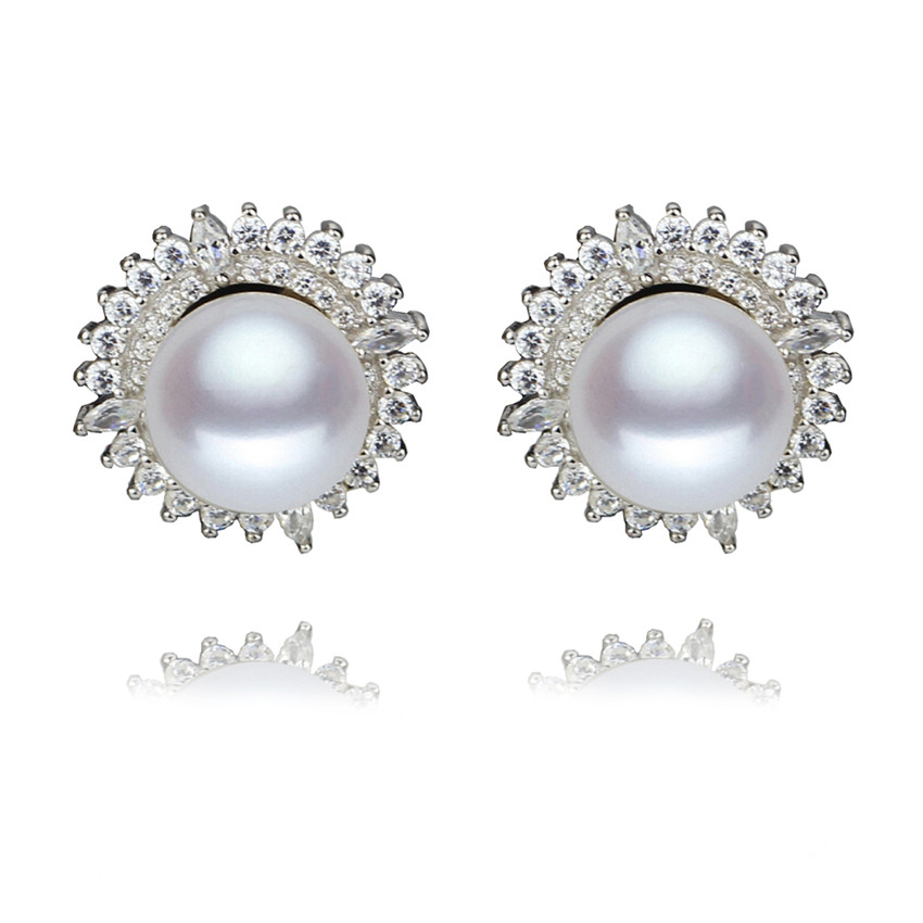 SNH AAA 8 9mm button sterling silver real natural freshwater pearl earrings genuine cultured pearl jewelry earrings for women