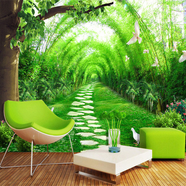Buy custom any size 3d mural wallpaper for Bamboo mural wallpaper