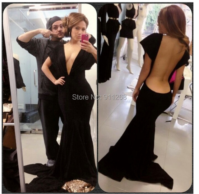 ef8b5b8d97c3 New Arrivals Low V-neck Black Celebrity Party Dresses Gown Sexy Backless  Mermaid Formal Long Pageant Occasion Gowns Custom Made