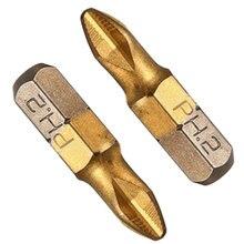 цена на 10pcs/set Titanium Coated PH2 Screwdriver Bits Anti Slip 1/4 Hex Shank Electric Drill Bit 25mm For Power Tools
