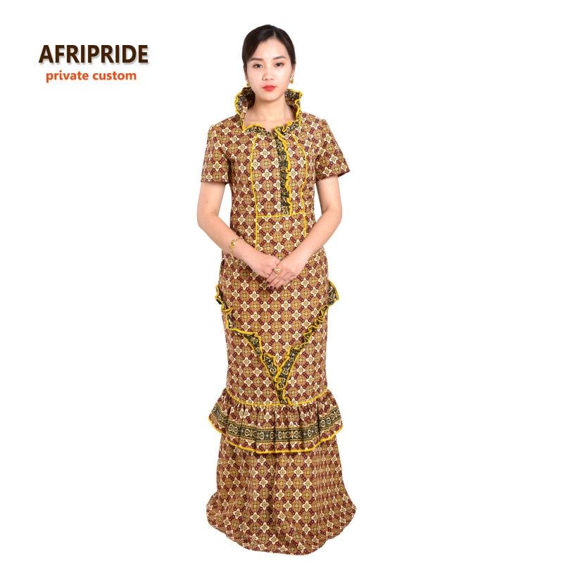 Aafrika traditsiooniline naiste erakondade komplekt AFRIPRIDE anakra print lühikeste varrukatega kaelarihm top + pahkluu pikkus seelik naiste komplekt A622615