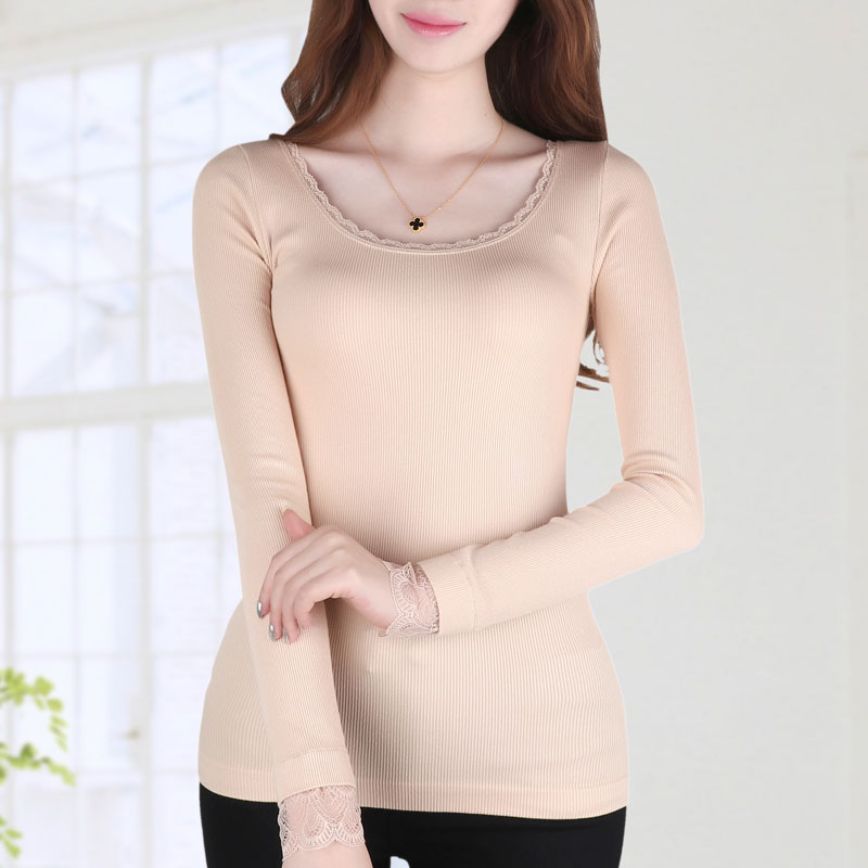 Ms. winter low collar lace thermal underwear abdomen seamles