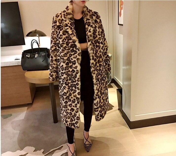 Новое поступление модные женские зимние Leopard с длинным рукавом из искусственного меха ...