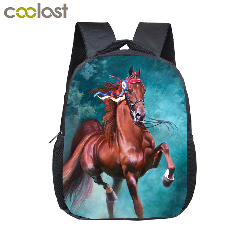 цены на War Horse Backpack Boys Girls Children School Bags Cartoon Pony Kindergarten School Backpacks Baby Toddler Bag Kids BookBag
