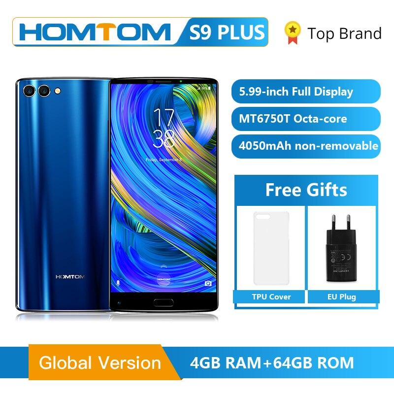 HOMTOM S9 Plus 18:9 HD + 5.99 tri-bezelless affichage complet téléphone portable MT6750T Octa Core 4G RAM 64G ROM double caméra arrière téléphone portable