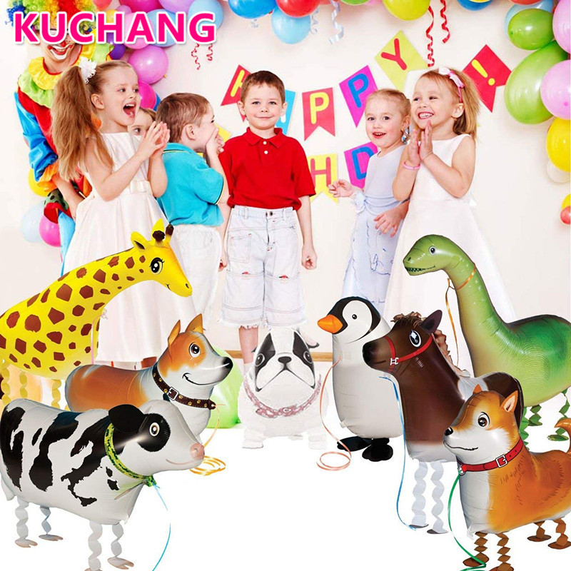 1pc Walking Farm Animal Balloons Pet Puppy Dog Bulldog Giraffe Zebra Panda Cow Pig Kids Theme Birthday Party Gift Decor Supplies image
