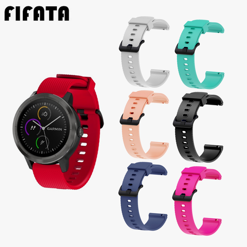 FIFATA 20MM Colorful Silicone Wrist Strap For Garmin Vivoactive 3 Replacement Accessories Sport Watch Band For Vivomove HR