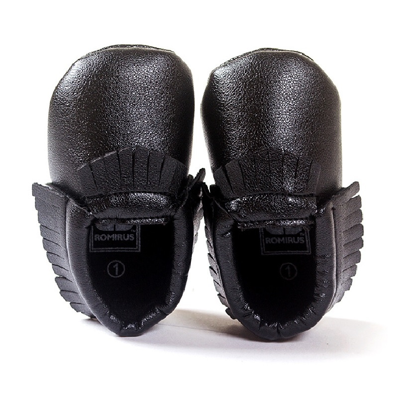 Hooyi Black Baby Moccasins First Walkers Newborn Shoes Bebe Boys Sport Shoe Handmade Infant Shoe Insole Boots PU Leather