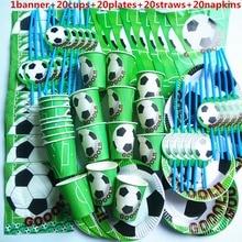 Taza para niño de fútbol de 81 uds, plato, pajita y servilleta, pancarta, feliz cumpleaños, decoración para fiestas de papel