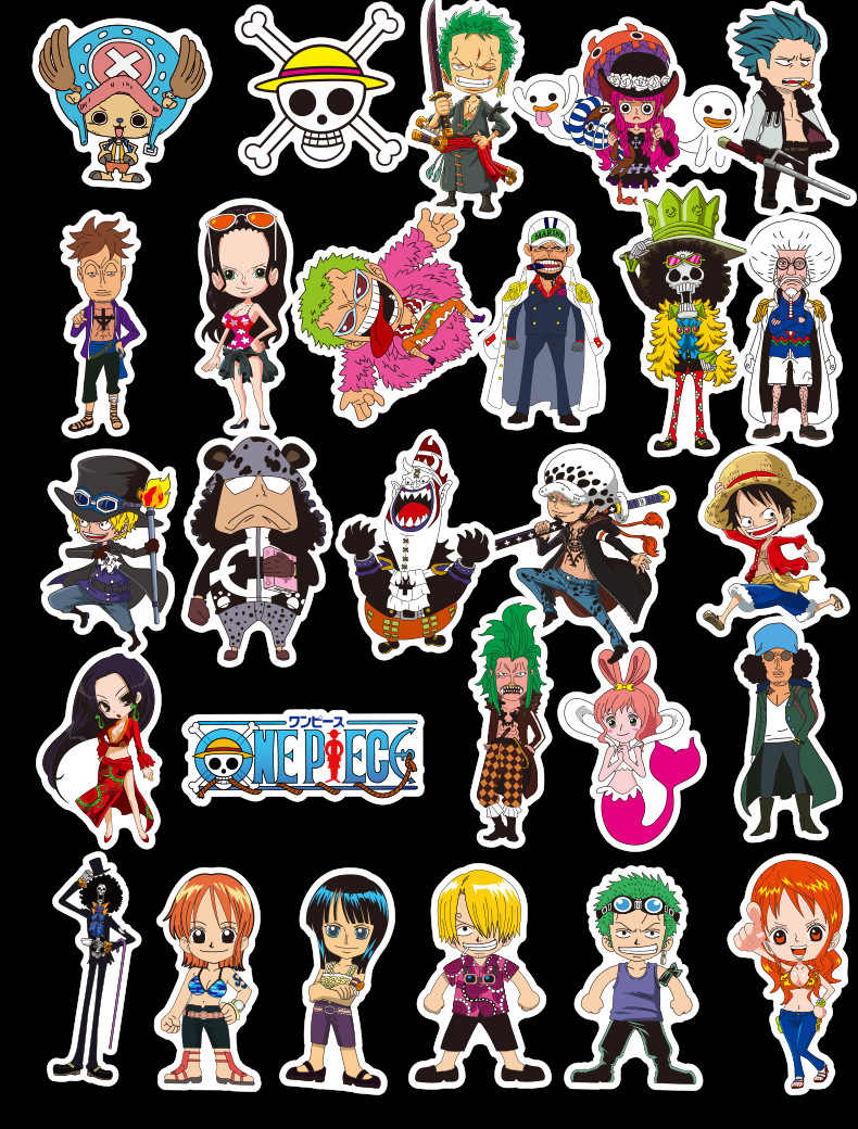 48pcs pack one piece stickers for children luggage waterproof pvc laptop bike motorcycle kids car