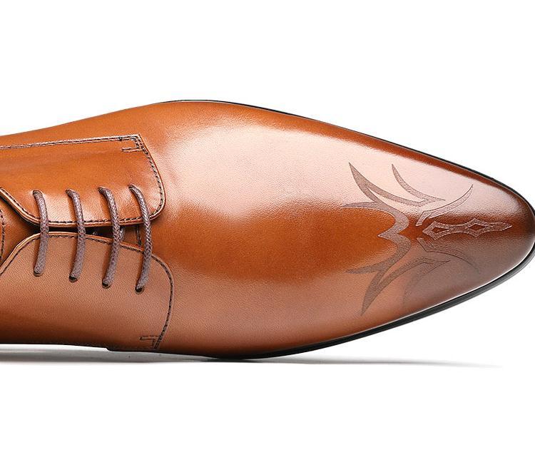 Moda De Homem Sapatas Escritório Casamento Negócios brown Carreira Trabalho Black Tendência Escultura Derby Genuíno Vestido Britânico Couro Sapatos Dos Homens 5Radq