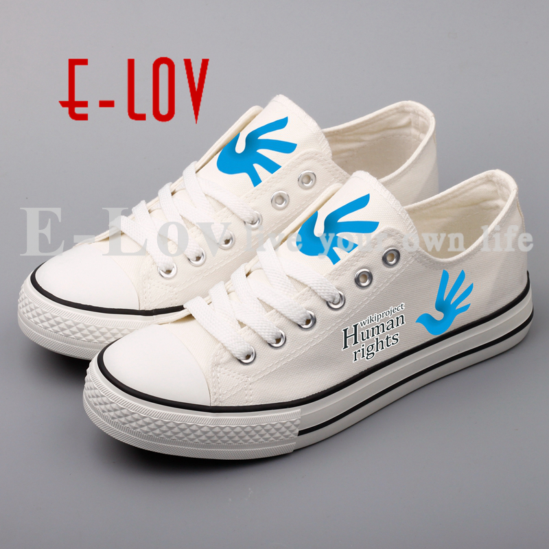 E-LOV Human Right Printed Canvas Women Shoes DIY Customzied Couples and Lovers Flat Walking Shoes Unisex Sapatos e lov women casual walking shoes graffiti aries horoscope canvas shoe low top flat oxford shoes for couples lovers