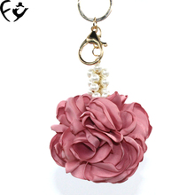 Ladies wind camellia flower ball keychain bag hanging ornaments car luxury pearl pendant