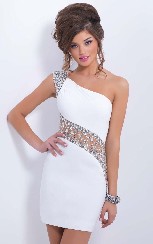 9a721e8fc 2014 Short Dresses for Teens Sheath Satin Beaded Sheer One Shoulder ...