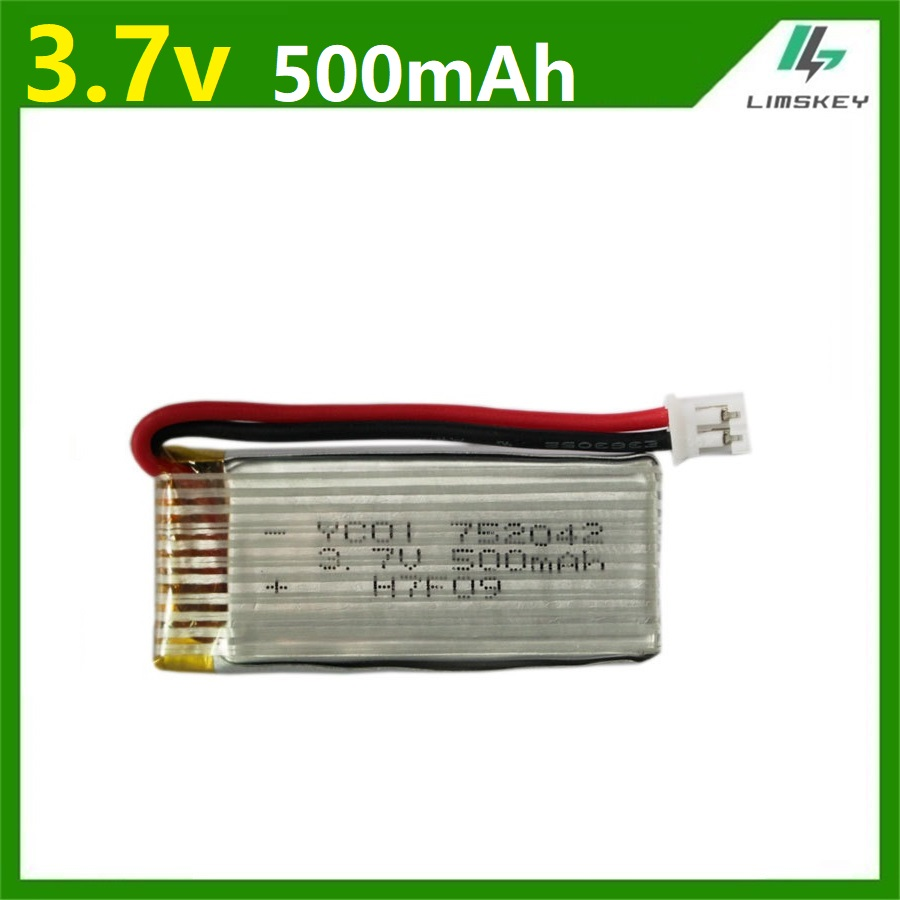 3.7V 500mAh 752042 Lipo Battery For Syma X5C X11C U941A U27 H107C JD385 RC Quadcopter Spare Parts 3.7V Li-po Battery 2.00mm plug