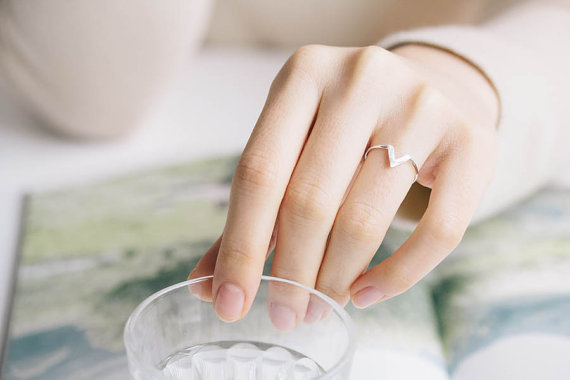 Geometric V Shape Midi Ring