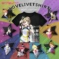 Anime Love Live! a Equipe do projeto ídolo escola T-shirt Preto Camiseta de Poliéster Verão Atividade Animação Tshirt Das Mulheres Dos Homens de Roupas