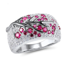 USTAR Rose Red CZ crystals Creative Tree Rings for women Plum Blossom Branch Silver Plated Wedding Female New 2019 Jewelry