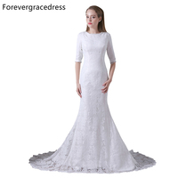 Forevergracedress Elegant Wedding Dress Mermaid Lace Half Sleeves Long Bridal Gown Plus Size Custom Made