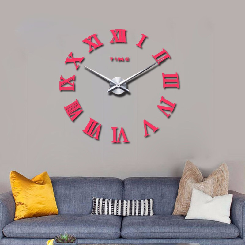 promotion 16 new home decor large roman mirror fashion modern Quartz clocks living room diy wall clock watch free shipping 8