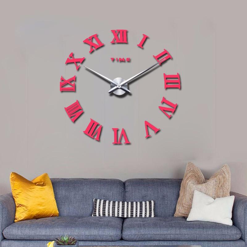 promotion 16 new home decor large roman mirror fashion modern Quartz clocks living room diy wall clock watch free shipping 8