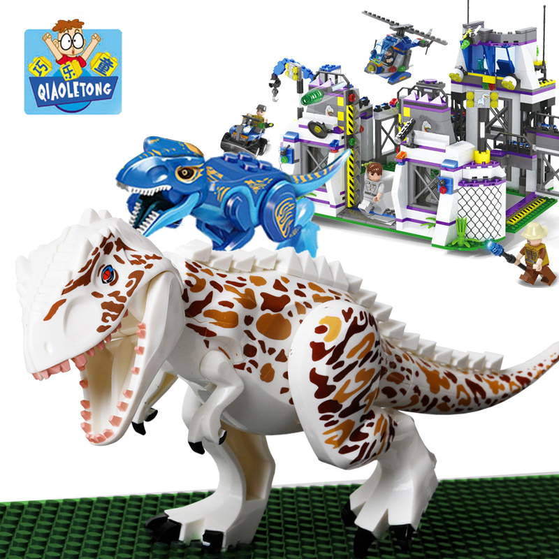 QIAOLETONG Jurassic World Dinosaurs Base Building Blocks Toys Tyrannosaurus Dinosaurs Bricks Toys For Children Gifts Legoings single dinosaurs tyrannosaurus rex triceratop pterosauria velocirapto movie mini building blocks toys legoings jurassic world