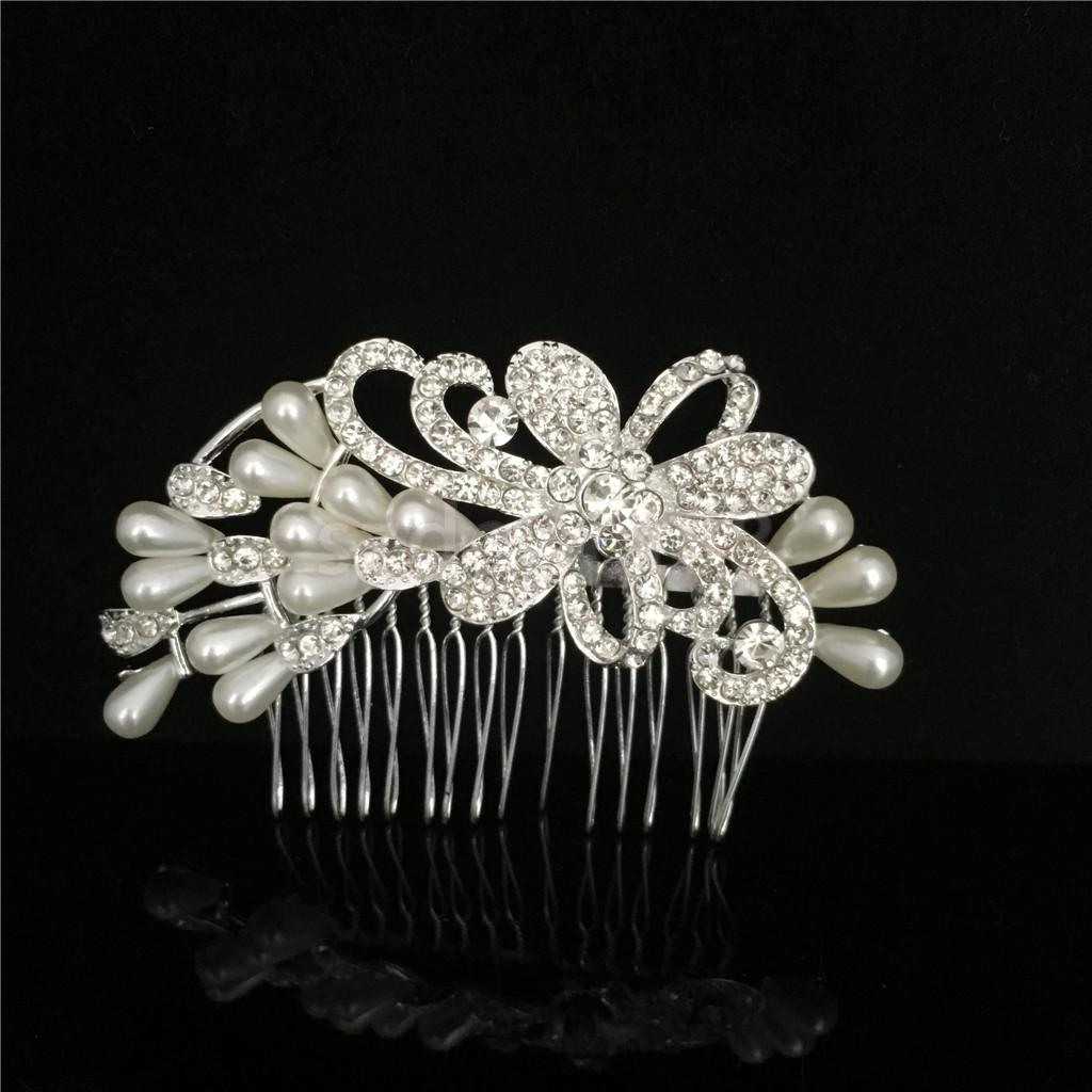 Flower Artificial Pearl Crystal Rhinestone Hair Comb Wedding Party Women Bridal Accessory Jewelry Gift